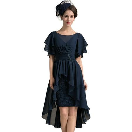 Asymmetrical Gown - Irregular Dress Plus Size Tunics Women Asymmetrical Hem Short Sleeve Loose Evening Cocktail Party Prom Ball Gown L-5XL