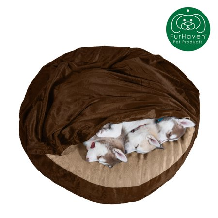 FurHaven Pet Dog Bed | Cooling Gel Memory Foam Orthopedic Round Microvelvet Snuggery Pet Bed for Dogs & Cats, Espresso, 35-Inch