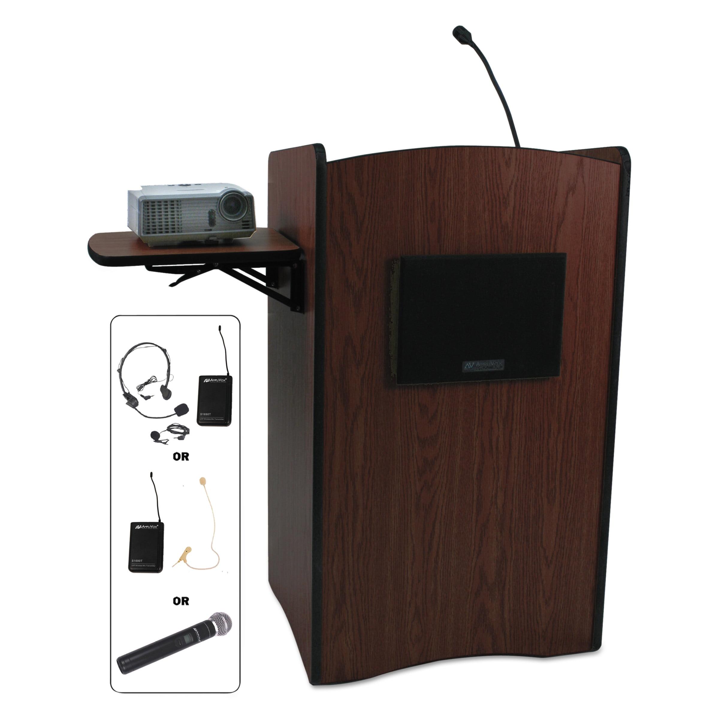 AmpliVox Multimedia Smart Computer Wireless Lectern, 25-1/2w x 20-1/4d x 43-1/2h,Mahogany