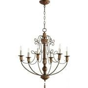 Quorum Salento 6 Light Chandelier in Vintage Copper