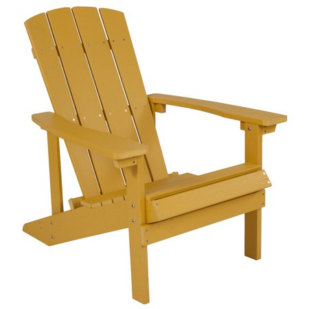 Flash Furniture Charlestown All-Weather Adirondack Chair in Yellow Faux