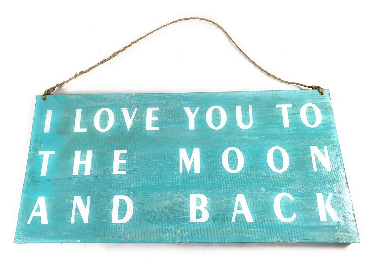 """I Love You To The Moon And back"" Beach Sign on Wood 16"" X 8"" 