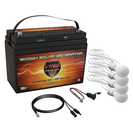 VMAX VSG12-100 Portable Solar Rechargeable Battery Generator Kit: 1,300Wh 100AH AGM Battery w/ 4 LED Light for CPAP Machine Medical Devices Recharge Phones and Electronics Home Camping Off Grid