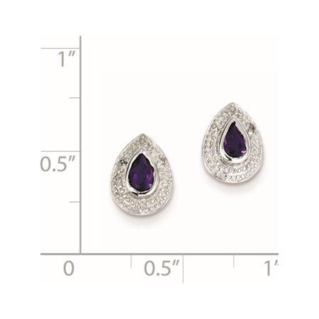 925 Sterling Silver Rhodium Amethyst & Diamond Post (7x10mm) Earrings - image 1 de 2