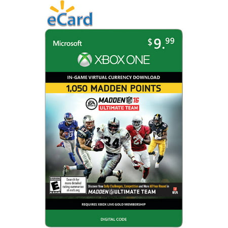 Madden NFL 16 (Xbox One) 1050 Points (Email Delivery) -  inComm, 0079936640153