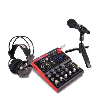 Dj Tech STUDIOPACK702 Full Digital Recording Studio Kit W/7-channel Mixer W/usb Recorder, Microphone, Headphones,