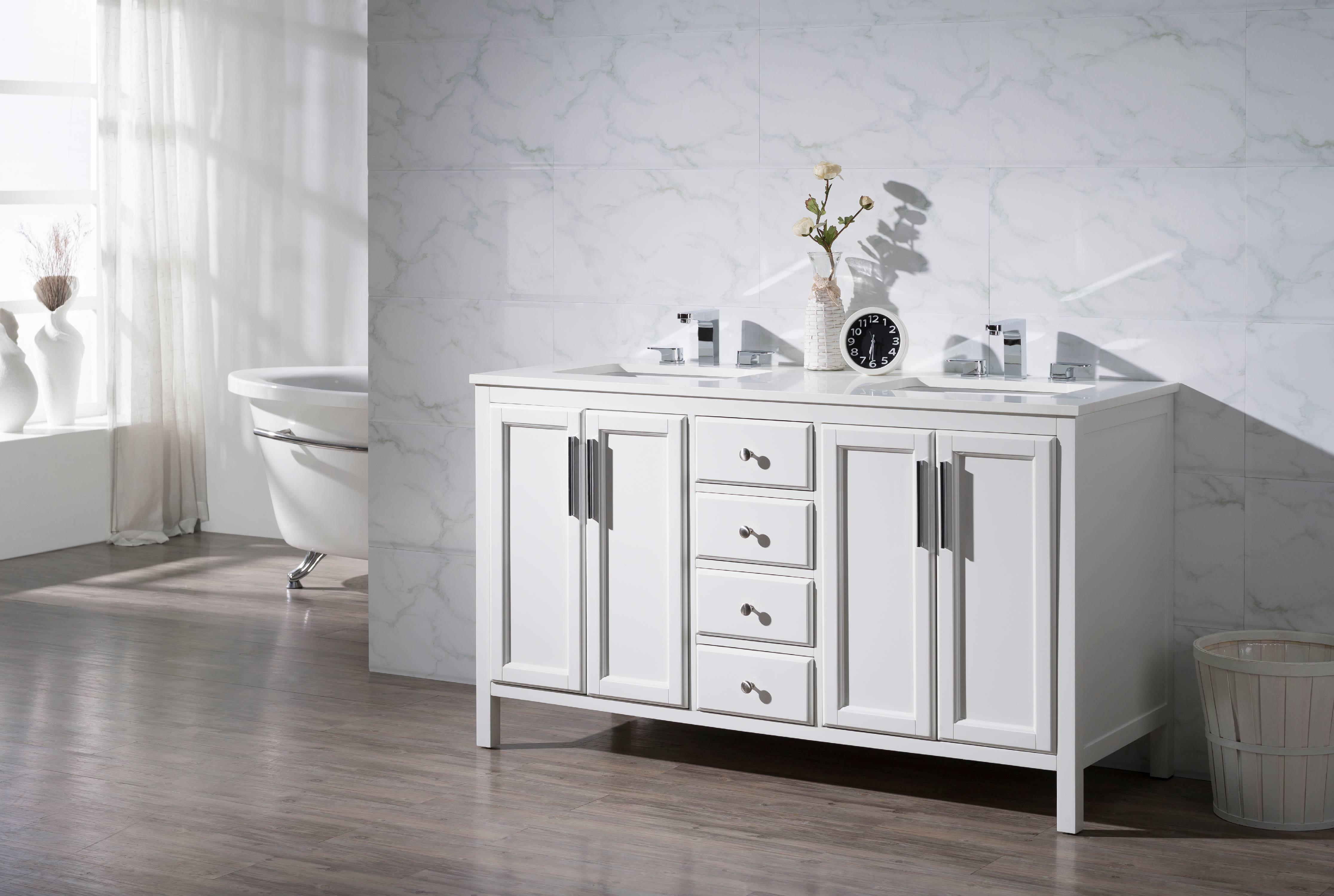 Emily 59 Inch Double Sink Bathroom Vanity Walmart Com Walmart Com