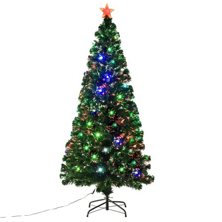 HOMCOM Pre-Lit Noble Fir Artificial Christmas Tree with 230 Tips, 24 Pre-Programmed Fiber Optic / LED Lights, 6' Tall ()