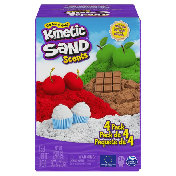 Kinetic Sand Scents, 32oz 4-Pack of Cherry, Apple, Chocolate and Vanilla Scented Kinetic Sand