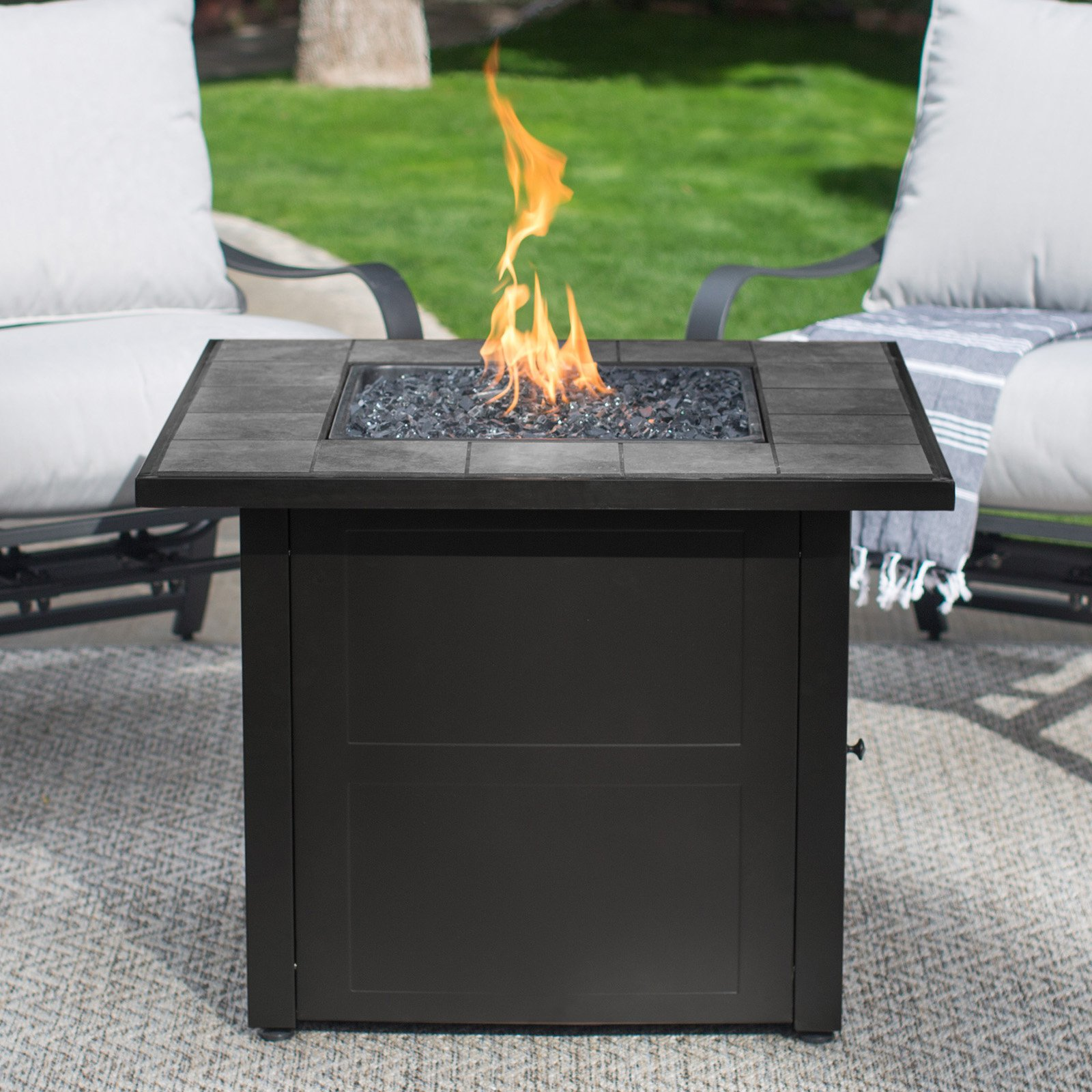 Delicieux UniFlame LP Gas Ceramic Tile Fire Pit Table
