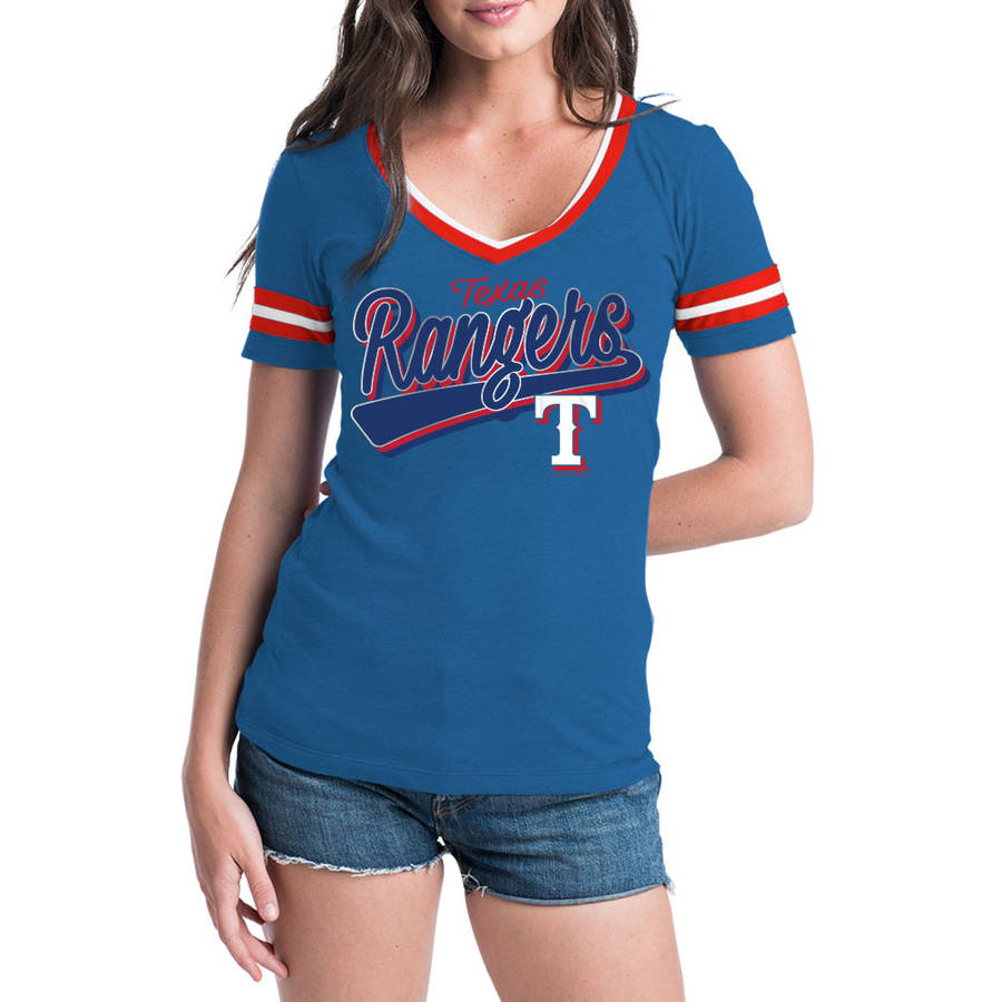 MLB Texas Rangers Women's Short Sleeve Team Color Graphic Tee