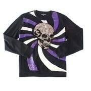 Mens Sweater Medium Skull Sequined Colorblock Crewneck M