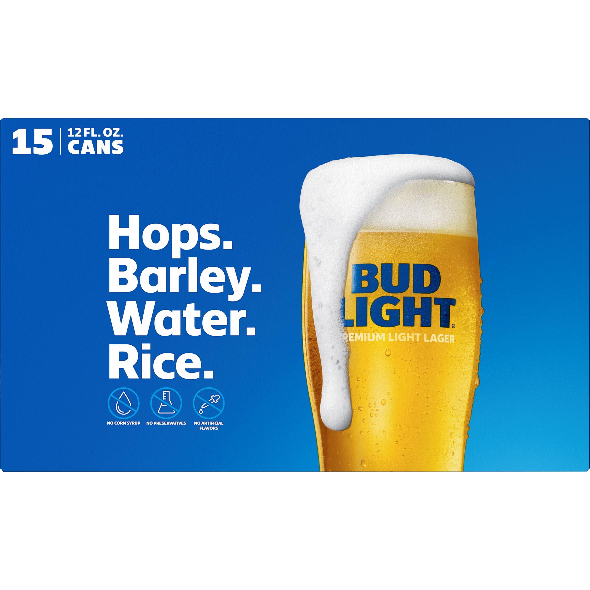 Bud Light® Beer, 15 Pack 12 fl  oz  Cans - Walmart com