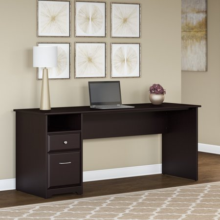 Bush Furniture Cabot 72W Computer Desk with Drawers in Espresso Oak Bush Furniture Oak Desk