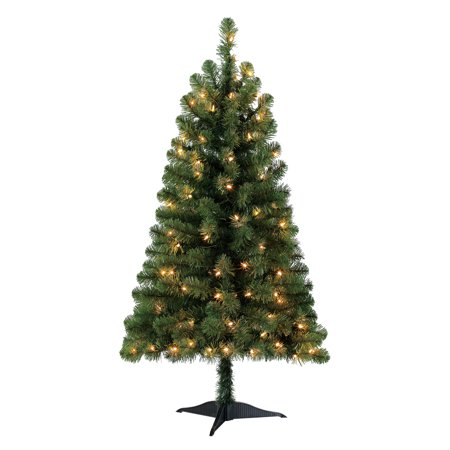 Holiday Time Pre-Lit 4' Indiana Spruce Green Artificial Christmas Tree, Clear-Lights ()