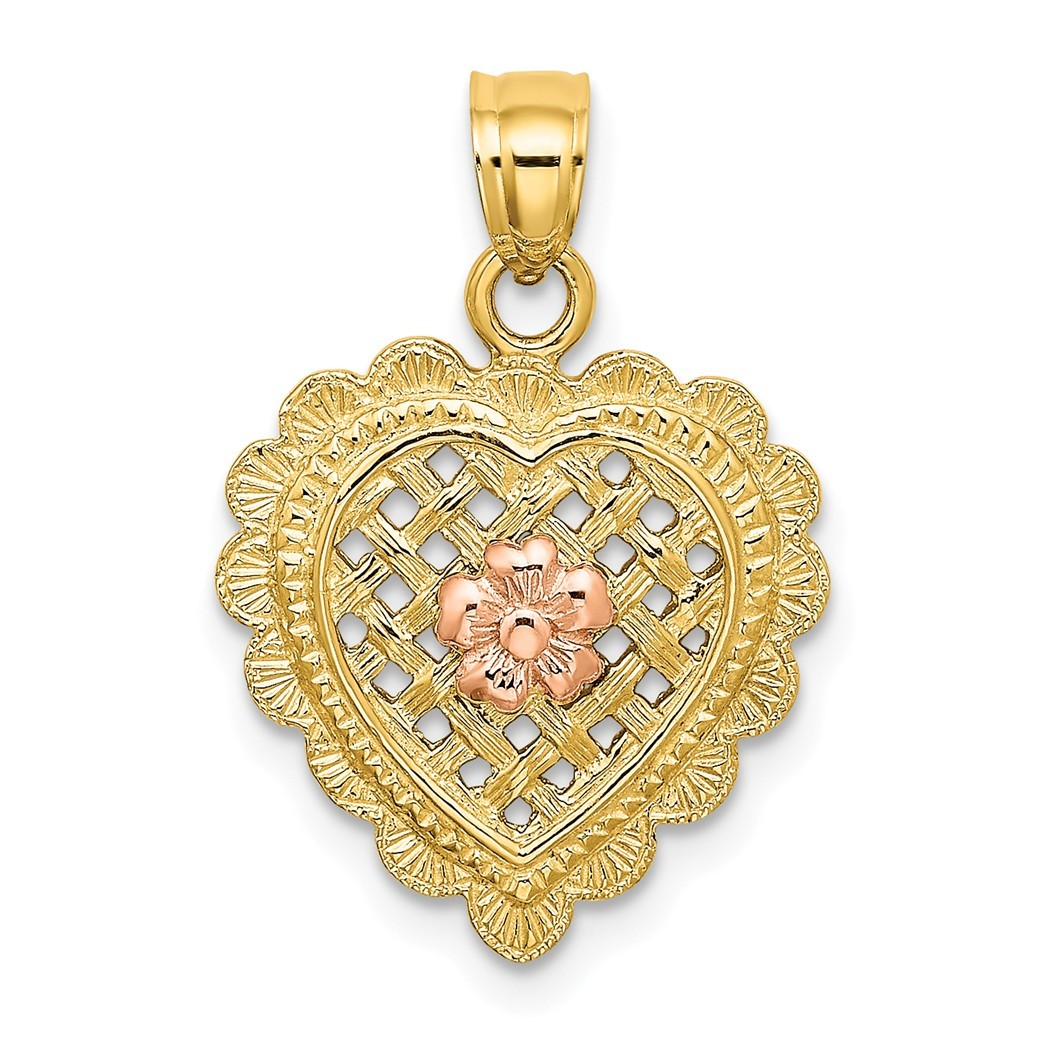 14K Gold Polished Nana with pink Flower on Heart Pendant