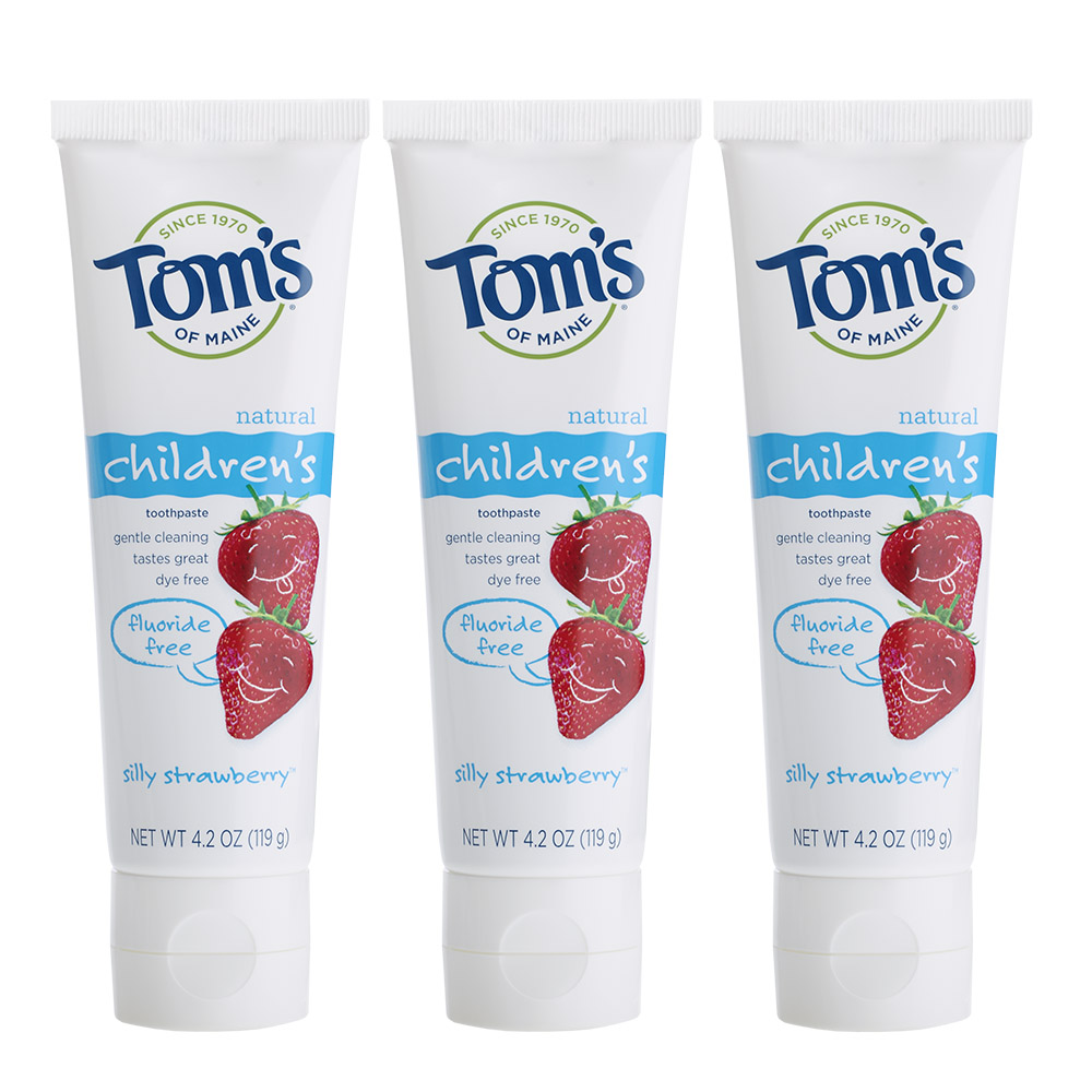 Tom's Of Maine Silly Strawberry Fluoride Free Toothpaste 3 Pack