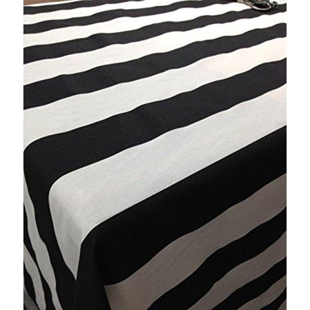 lovemyfabric Cotton 2 Inch Black & White Stripes Tablecloth for Wedding/Bridal Shower, Birthdays, Special Events