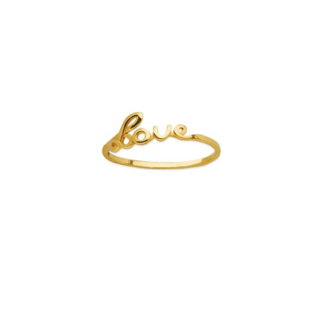 Gold Love Ring - 14k Yellow Gold Script Love Ring - Ring Size: 6 to 8