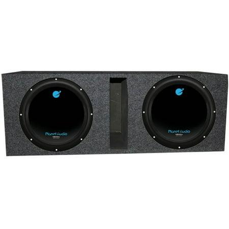"""Planet Audio 12"""" 3600W DVC Subwoofer AC12D (2)+Dual 12"""" Vented Sub Box Enclosure"""