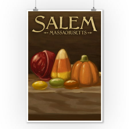 Salem, Massachusetts - Candy - Halloween Oil Painting - Lantern Press Artwork (9x12 Art Print, Wall Decor Travel Poster) - Halloween Oil Paintings