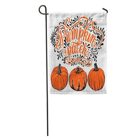 LADDKE Advertise Pumpkin Patch Halloween Hand Lettering and Sign Vintage Farm Garden Flag Decorative Flag House Banner 12x18 inch - Advertising Halloween