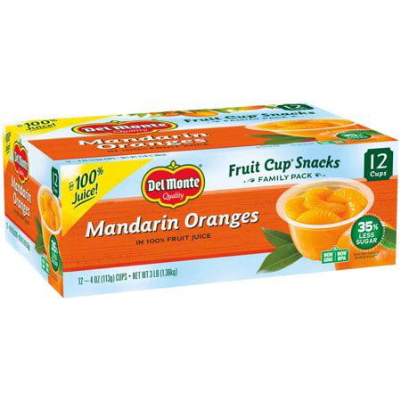 (24 Cups) Del Monte Fruit Cup Snacks Mandarin Oranges, 4 oz cups - Orange Halloween Fruit Cup