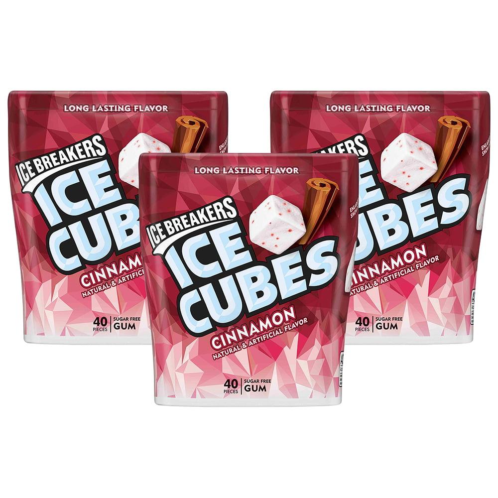 (3 Pack) Ice Breakers, Ice Cubes Sugar Free Cinnamon Gum, 3.24 Oz