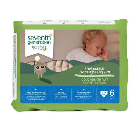 Seventh Generation Baby Free   Clear Overnight Diapers Stage 6 35  Lbs  17 Ct Package