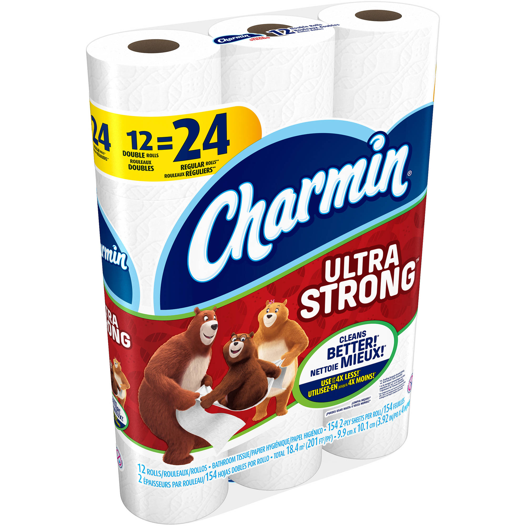 Charmin Ultra Strong Toilet Paper Double Rolls, 308 sheets, 12 rolls