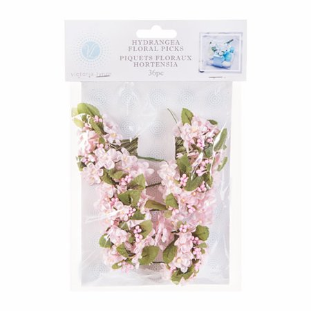 Daric VL6300 Hydrangea Flower Pick with Green Satin Leaf Accent, Pink, 36-Pack