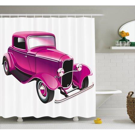 Hot Pink Shower Curtain Vintage Muscle Car Illustration Retro