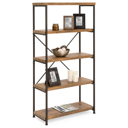 Library Display Unit (Best Choice Products 4-Tier Rustic Industrial Bookshelf Display Decor Accent for Living Room, Bedroom, Office w/ Metal Frame, Wood Shelves - Brown)