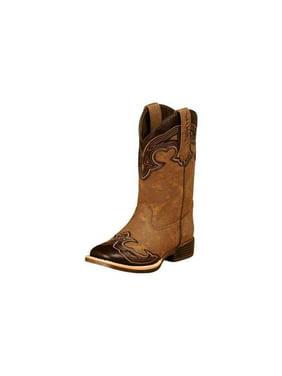 Blazin Roxx 4449002-10 Kids Samantha Square Toe Zip Western Boot, Brown - Size 10