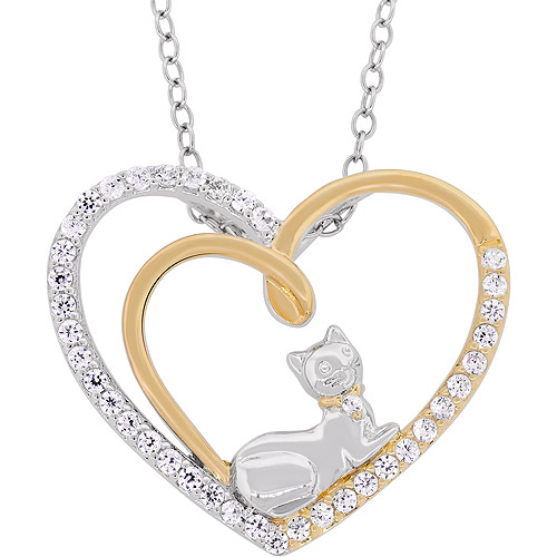 Cubic Zirconia Sterling Silver and 18kt Over Sterling Silver Double Heart Sitting Cat Pendant, 18""