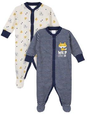 Gerber Baby Boy Thermal Footed Sleep 'N Play Pajamas, 2-Pack