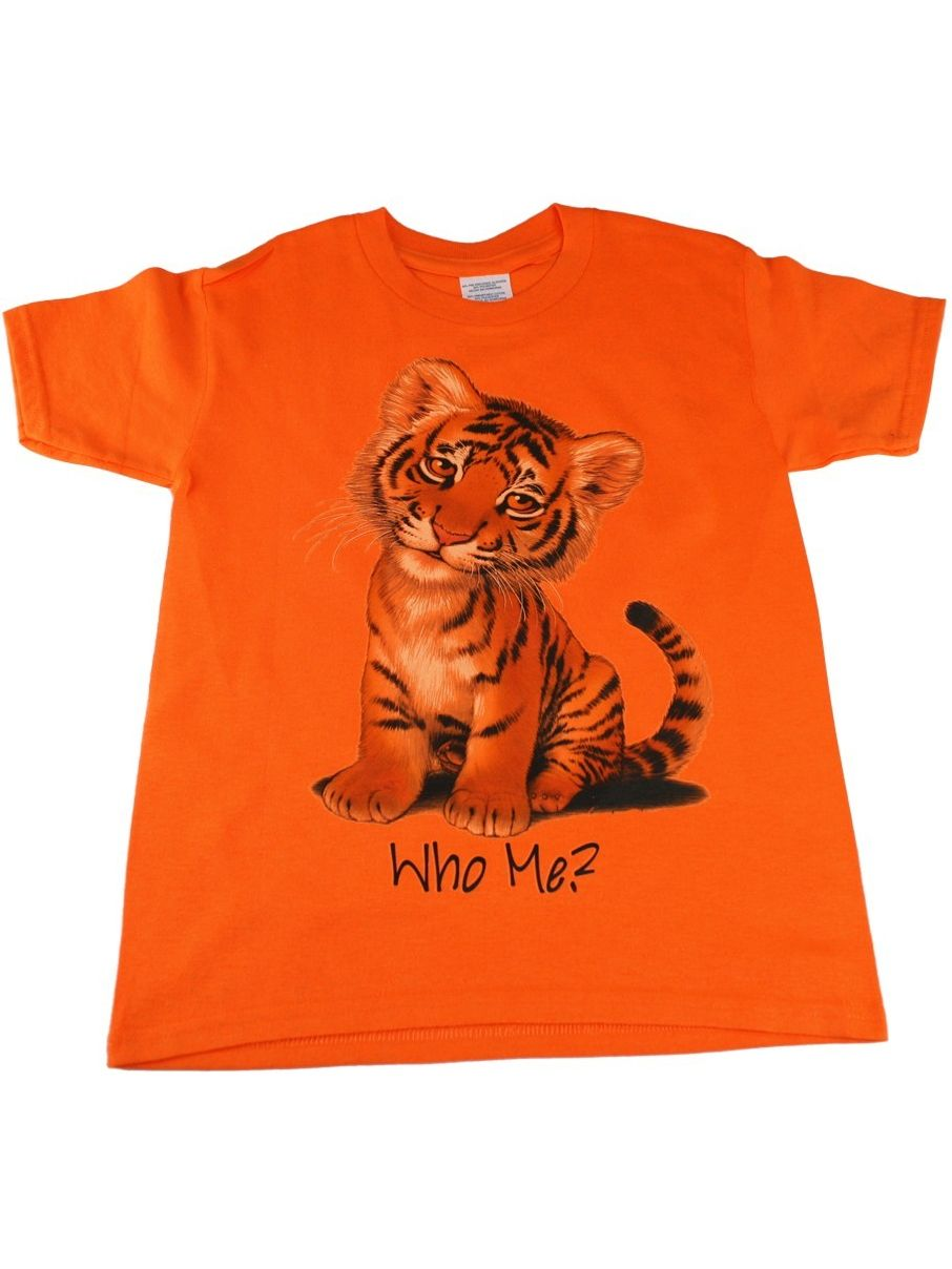 Kids Unisex Orange Tiger Who Me Print Short Sleeve T-Shirt