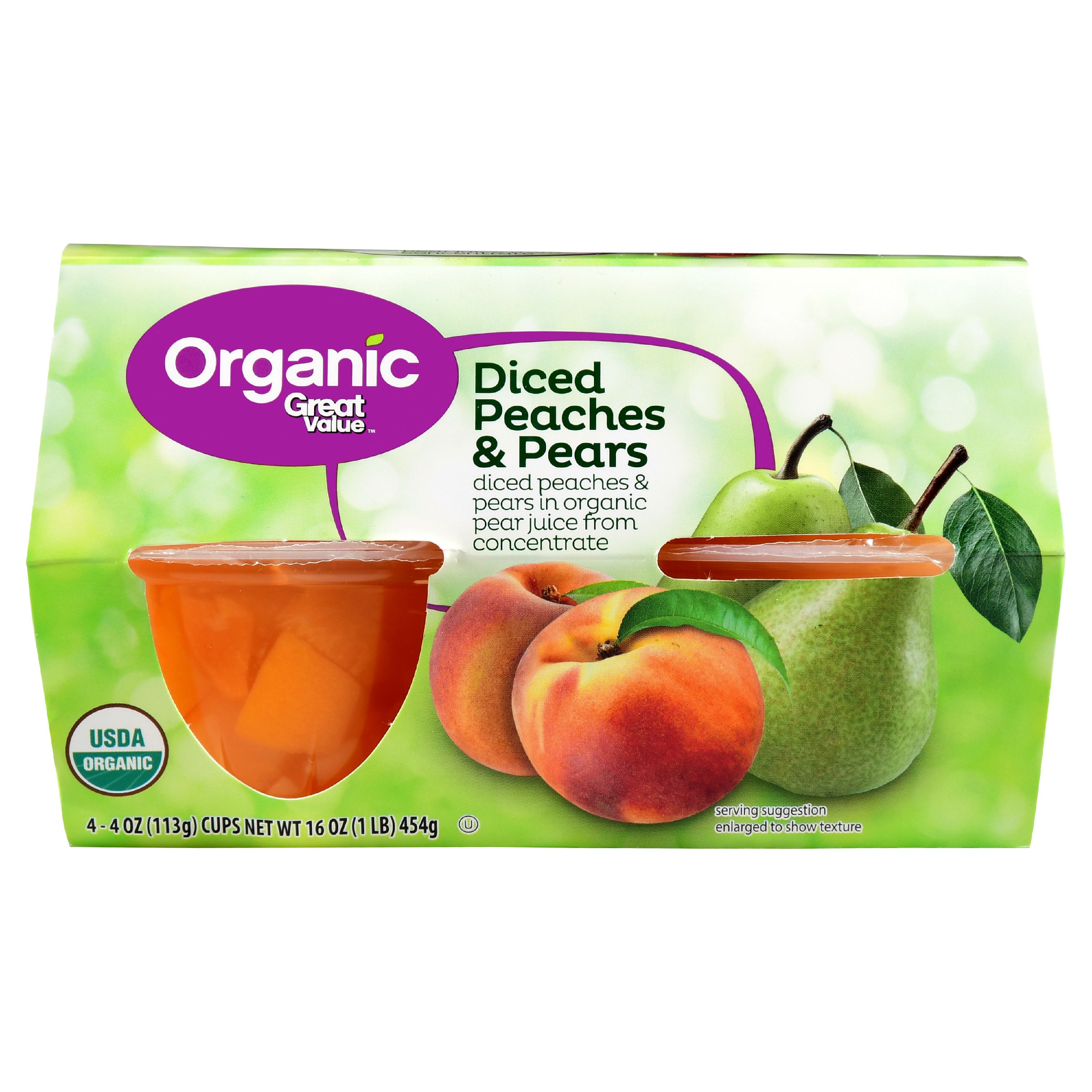 Great Value Organic Diced Peaches & Pears, 16 oz, 4 Count