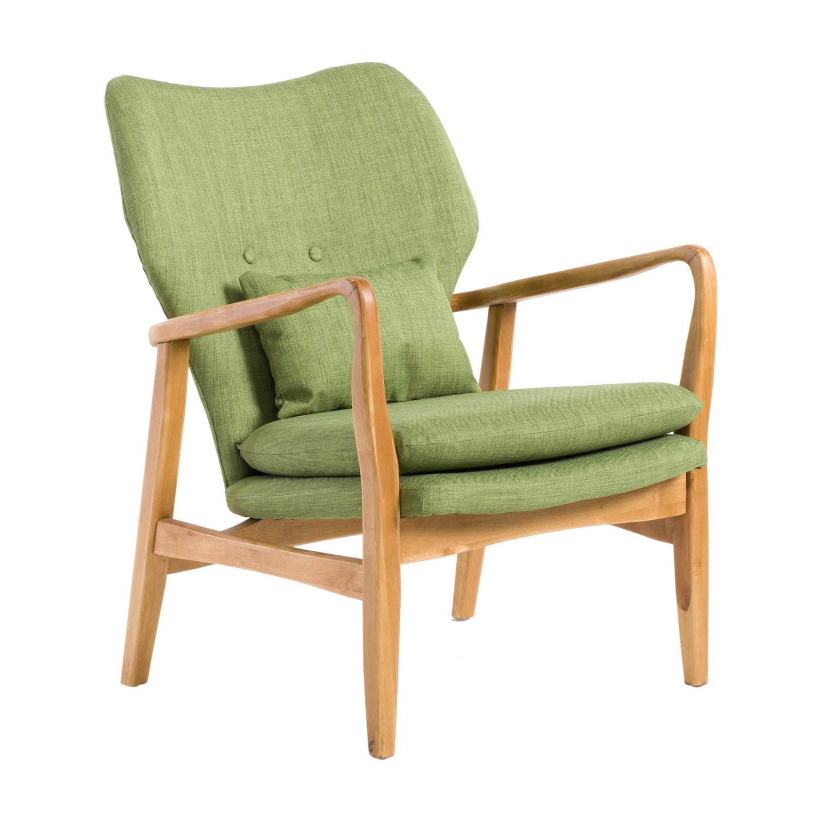 Bethany Wood Fabric Mid-Century Arm Accent Chair