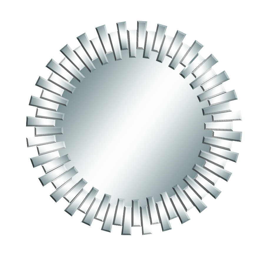 GwG Outlet Round Mirror in Silver Finish with Geometric Staggered Shapes 53894 by Benzara Inc.