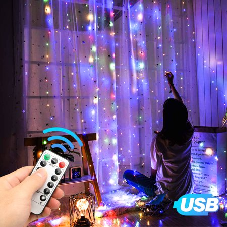 EEEKit Window Curtain String Lights USB Powered 300 LEDs 9.8ft×9.8ft,8 Modes USB,Remote Control Fairy String Lights Starry Lights for Wedding Party Bedroom Indoor Outdoor Decorative -Multicolor Indoor Party Lights