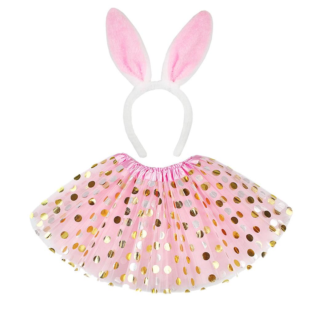 S Easter Bunny Dress Up Set Child Girls Costume Pink Glitter Tutu Skirt Ears S
