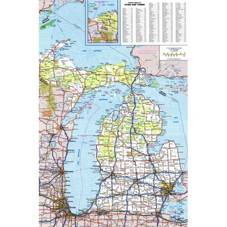 Michigan State Map - Laminated Map - Large detailed roads and highways map of Michigan state with all cities and national parks Poster 24 x 36