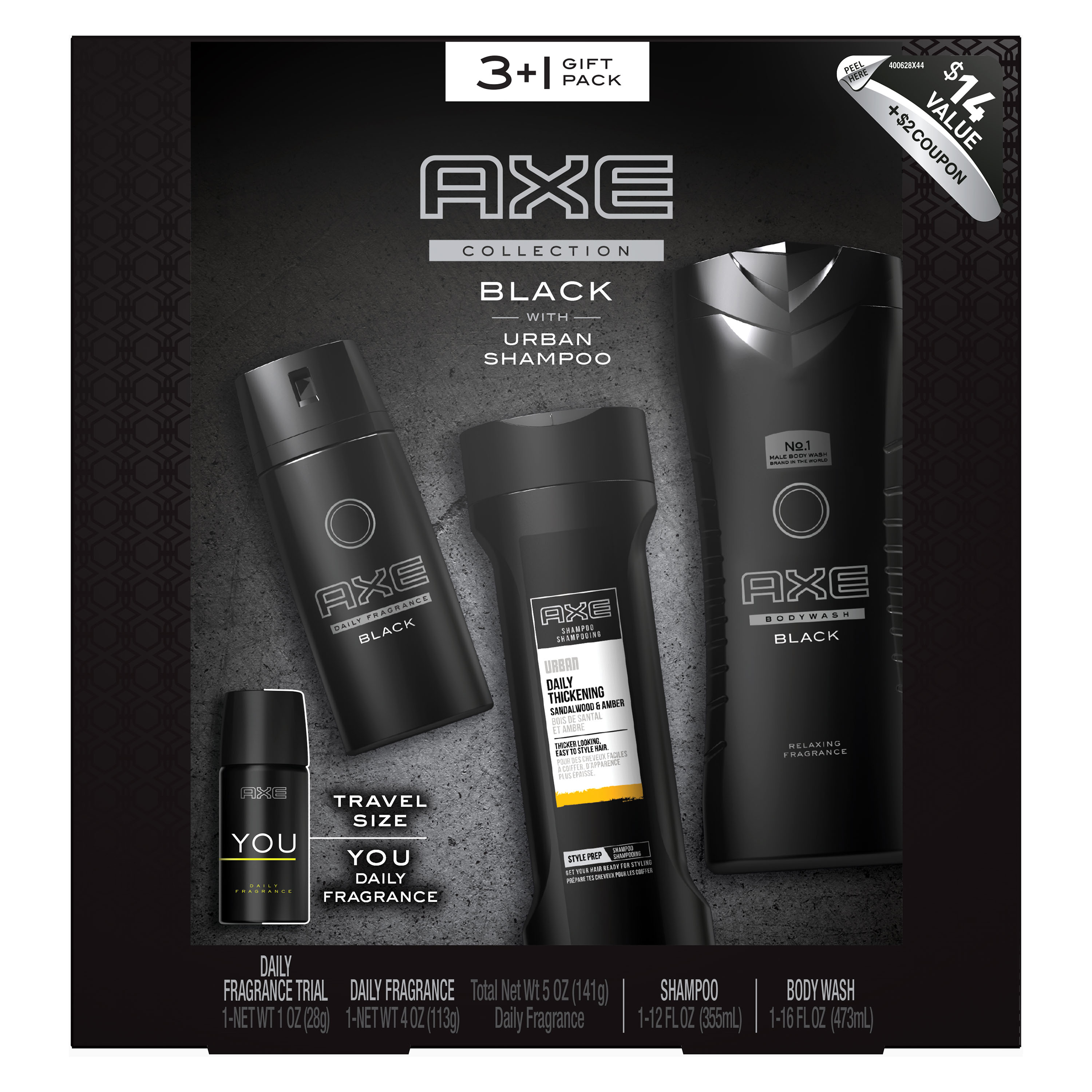 AXE Black Holiday Gift Box (Body Spray / Body Wash / 2-in-1 Shampoo & Conditioner / Bonus Travel Body Spray), 4 Pieces
