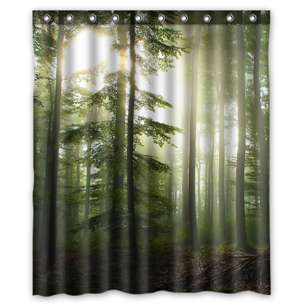 GCKG Sunshine Forest Waterproof Polyester Shower Curtain And Hooks Size 48x72 Inches