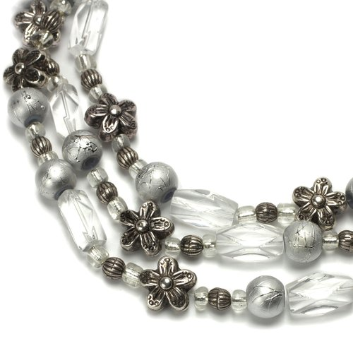 Glass and Metal Mixed Beads, Crystal and Silver