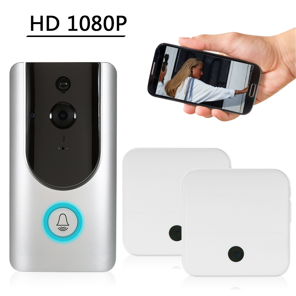 HD 1080P WiFi Smart Wireless Security Doorbell Smart Visual Intercom Recording Video Door Phone Night Vision Mobile Cruise Remote Monitoring for Home/Factory +2*Wireless Doorbell Chime