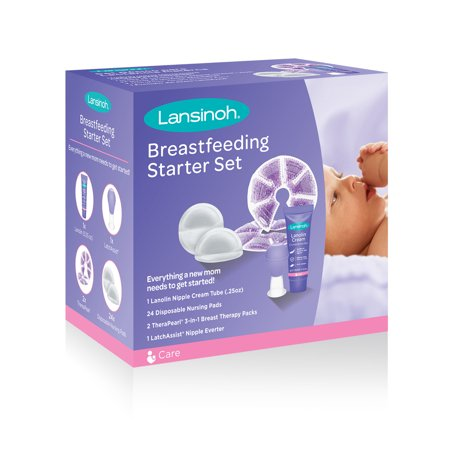 Lansinoh Breastfeeding Starter Set, Contains: 24 disposable Nursing Pads, 1 LatchAssist Nipple Everter, 2 TheraPearl Packs, 1 Lanolin Nipple Cream Tube 0.25