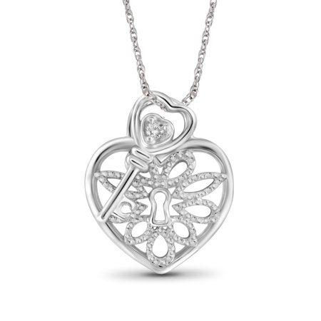 5e3dde6d70534 White Diamond Accent Sterling Silver Heart Pendant with Key