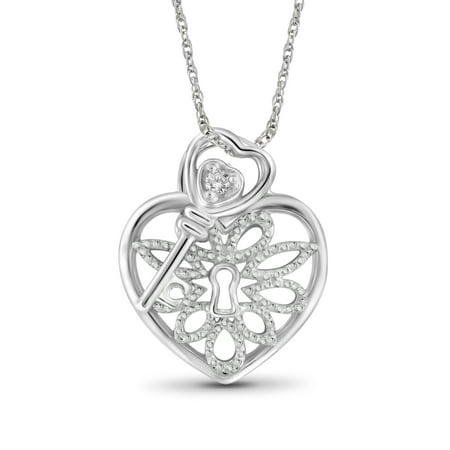 White Diamond Accent Sterling Silver Heart Pendant with Key